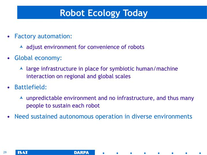 Robot Ecology Today