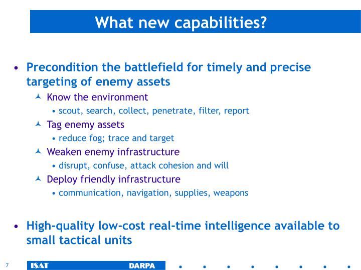 What new capabilities?
