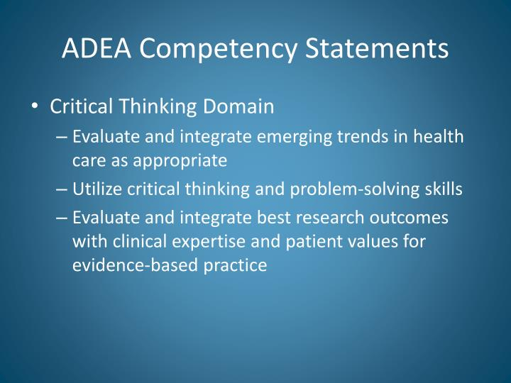 ADEA Competency Statements