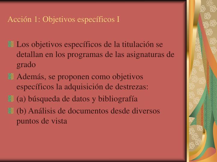 Acción 1: Objetivos específicos I