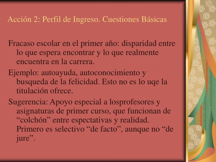 Acción 2: Perfil de Ingreso. Cuestiones Básicas