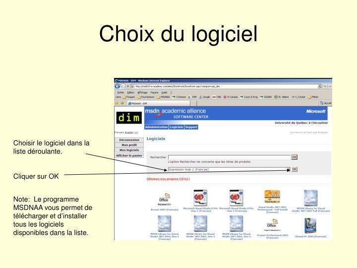 Choix du logiciel