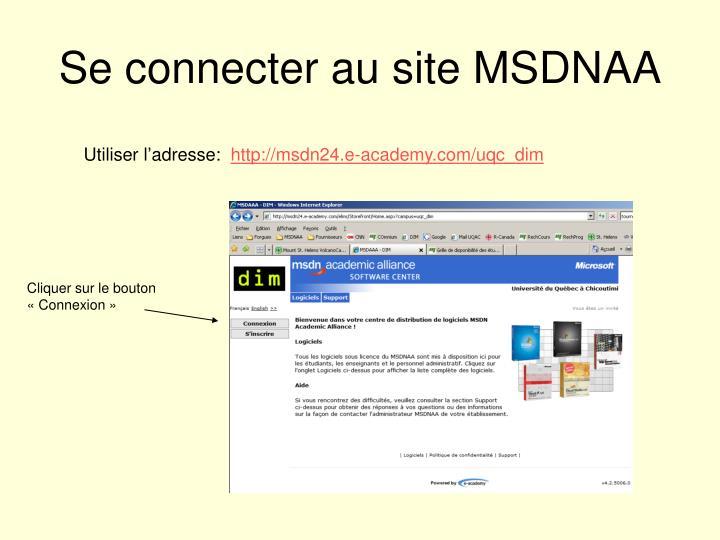 Se connecter au site MSDNAA