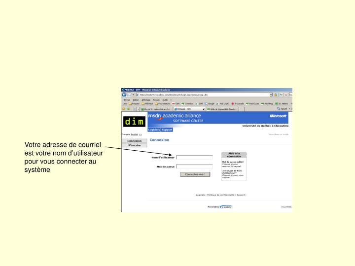 Votre adresse de courriel est votre nom d'utilisateur pour vous connecter au système