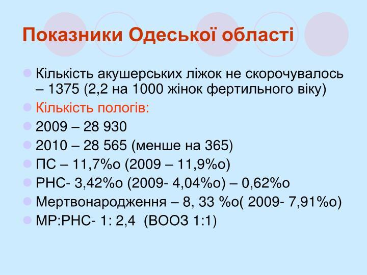 Показники Одеської області