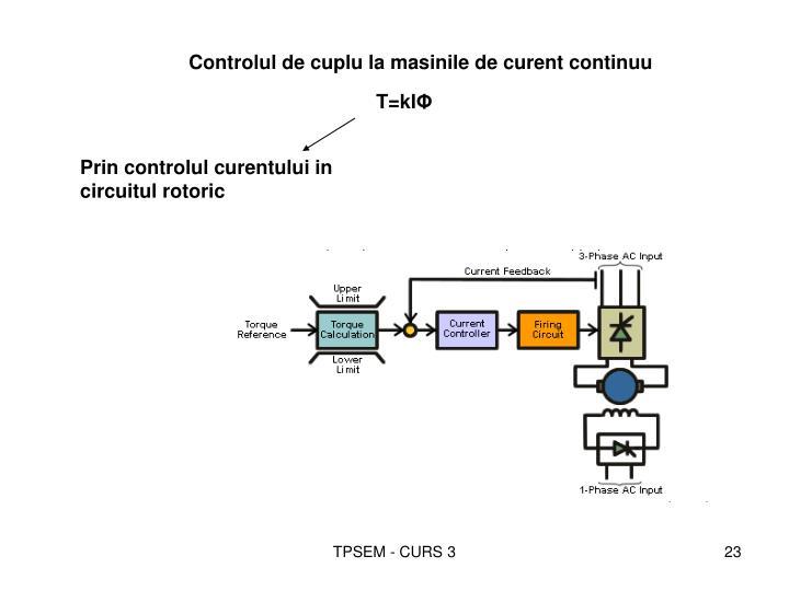 Controlul de cuplu la masinile de curent continuu