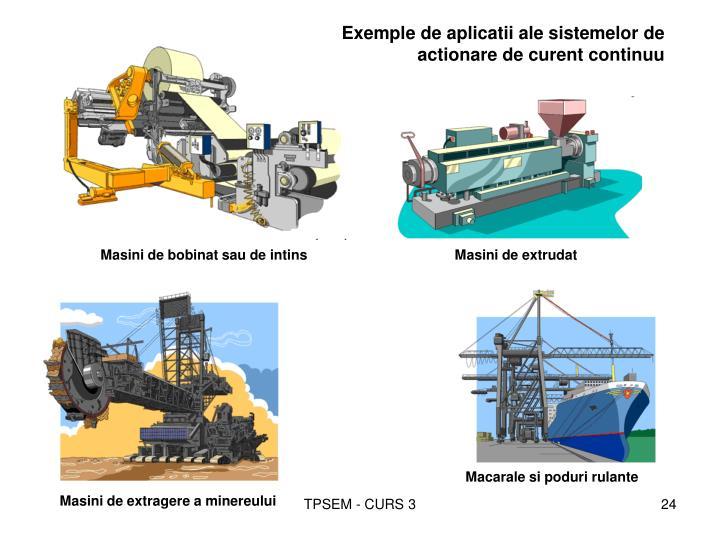 Exemple de aplicatii ale sistemelor de actionare de curent continuu