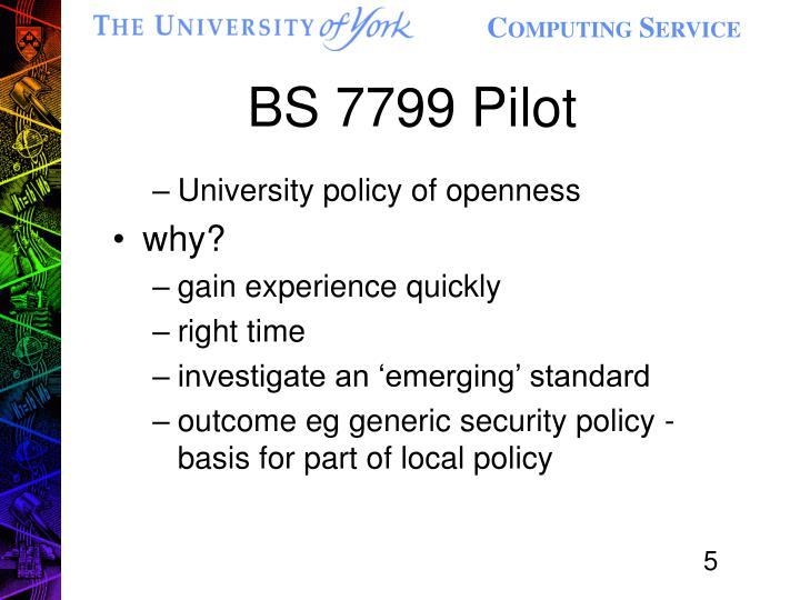 BS 7799 Pilot