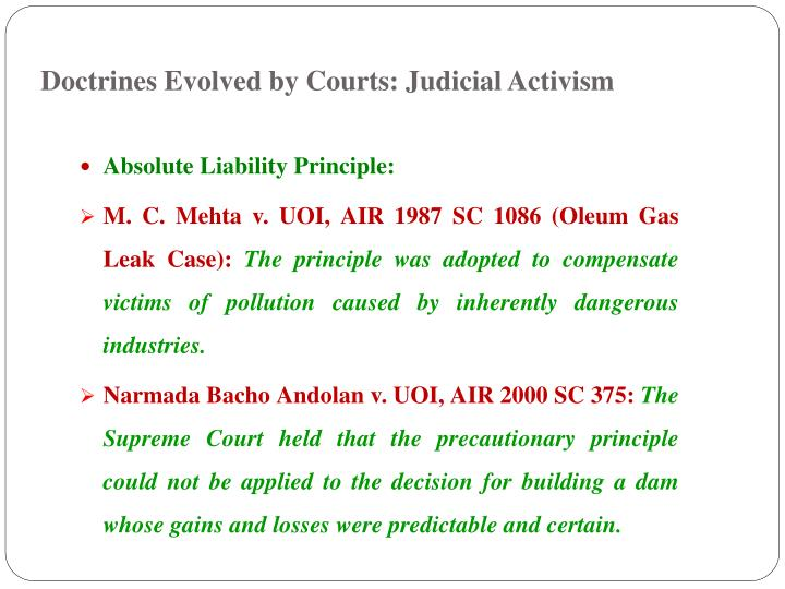 Doctrines Evolved by Courts: Judicial Activism