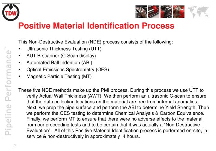 Positive material identification process