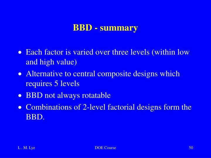 BBD - summary