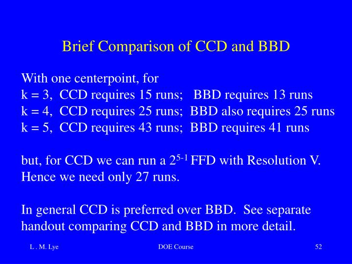 Brief Comparison of CCD and BBD