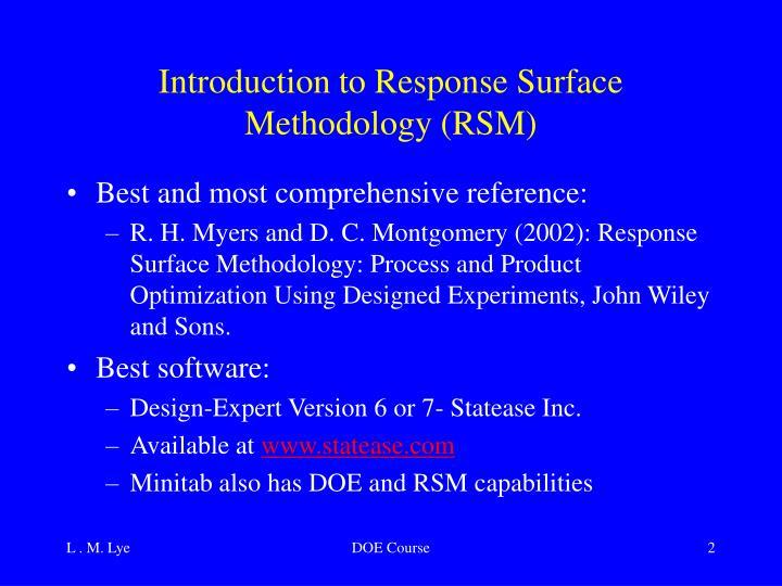 Introduction to response surface methodology rsm
