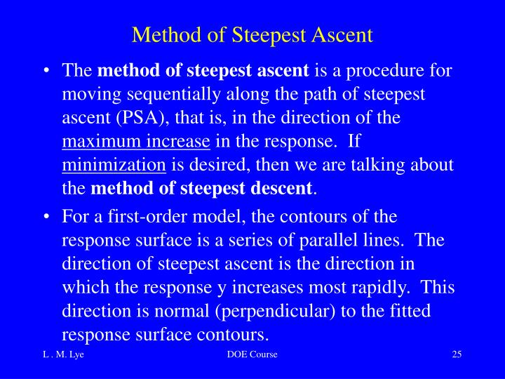 Method of Steepest Ascent