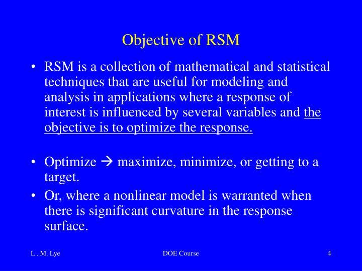 Objective of RSM