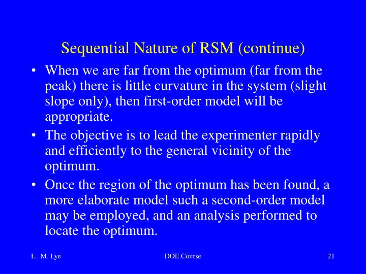 Sequential Nature of RSM (continue)