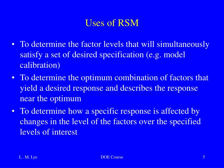 Uses of RSM