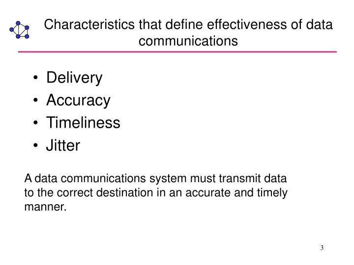 Characteristics that define effectiveness of data communications