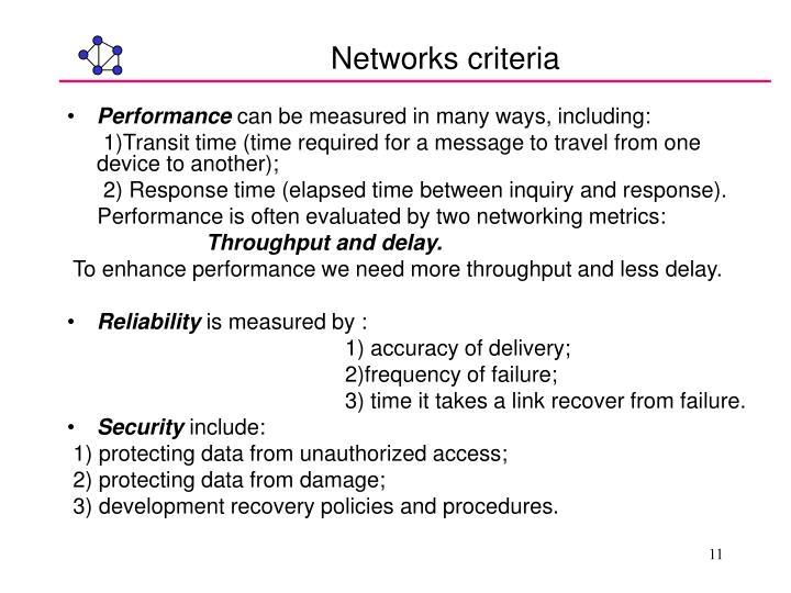 Networks criteria