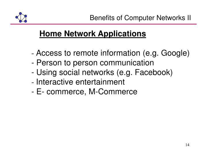 Benefits of Computer Networks II