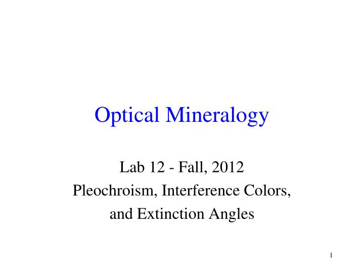 optical mineralogy n.