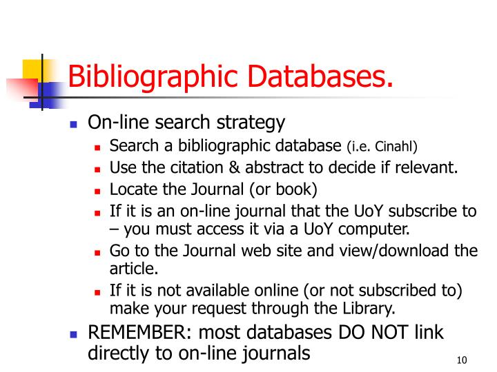 Bibliographic Databases.