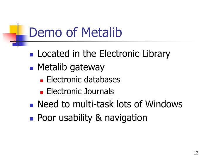 Demo of Metalib
