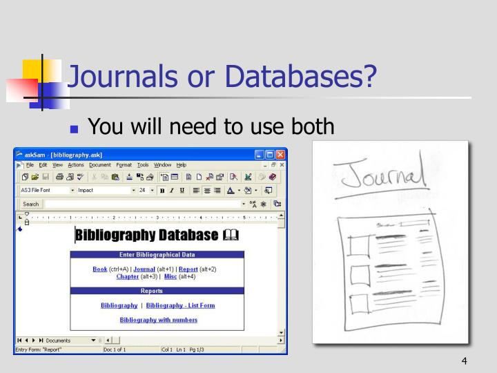 Journals or Databases?