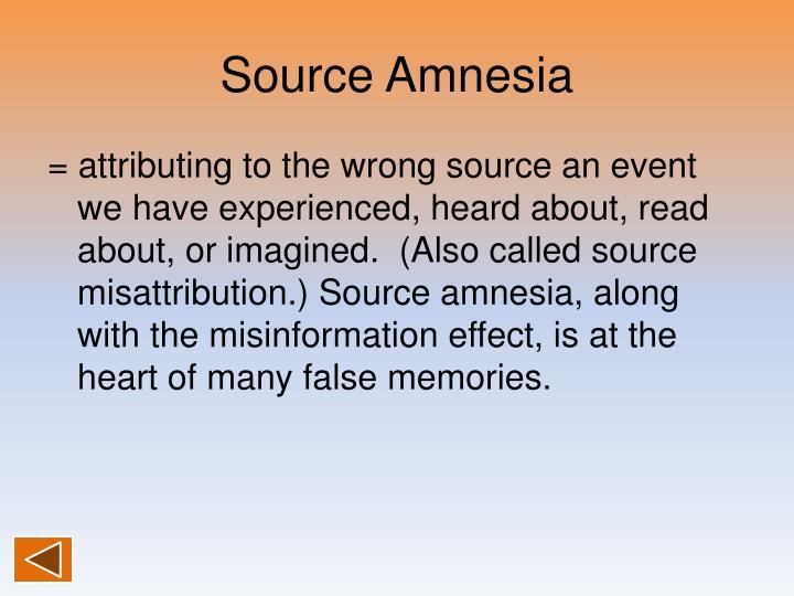 Source Amnesia