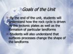 goals of the unit