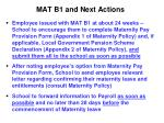 mat b1 and next actions