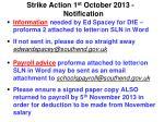 strike action 1 st october 2013 notification