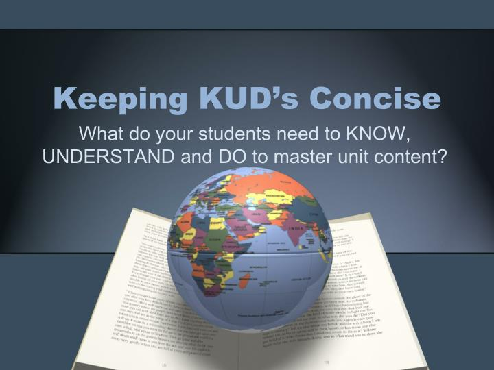 keeping kud s concise n.