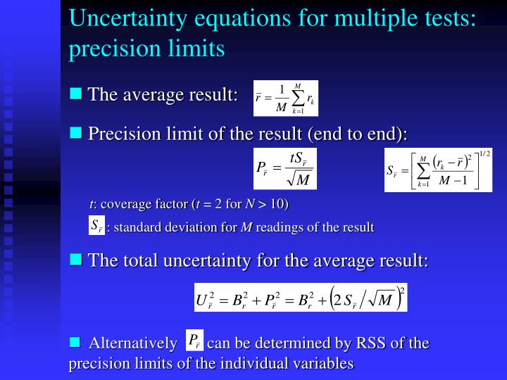 Uncertainty equations for multiple tests: precision limits