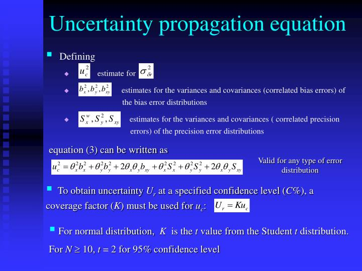 Uncertainty propagation equation