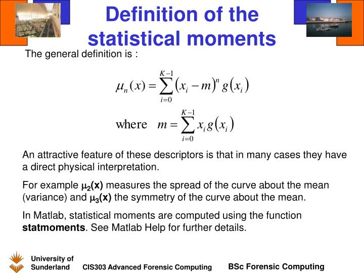 Definition of the statistical moments