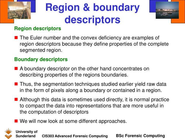 Region & boundary descriptors