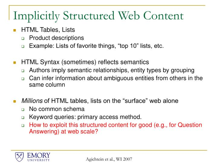 Implicitly Structured Web Content