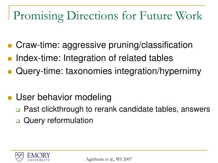 Promising Directions for Future Work