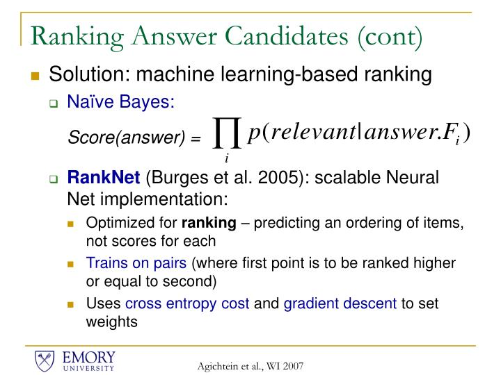 Ranking Answer Candidates (cont)