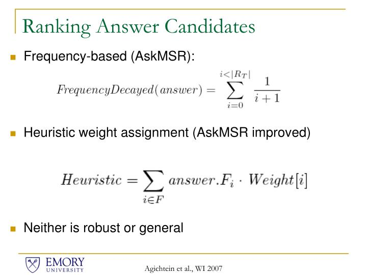 Ranking Answer Candidates