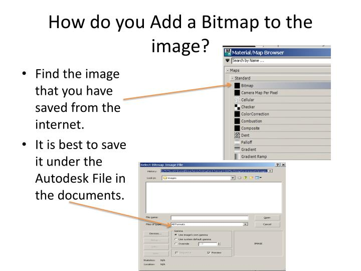 How do you Add a Bitmap to the image?