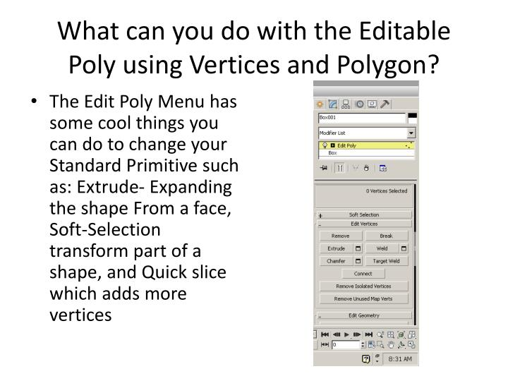 What can you do with the Editable Poly using Vertices and Polygon?