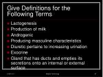 give definitions for the following terms2