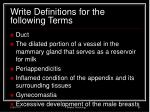 write definitions for the following terms7