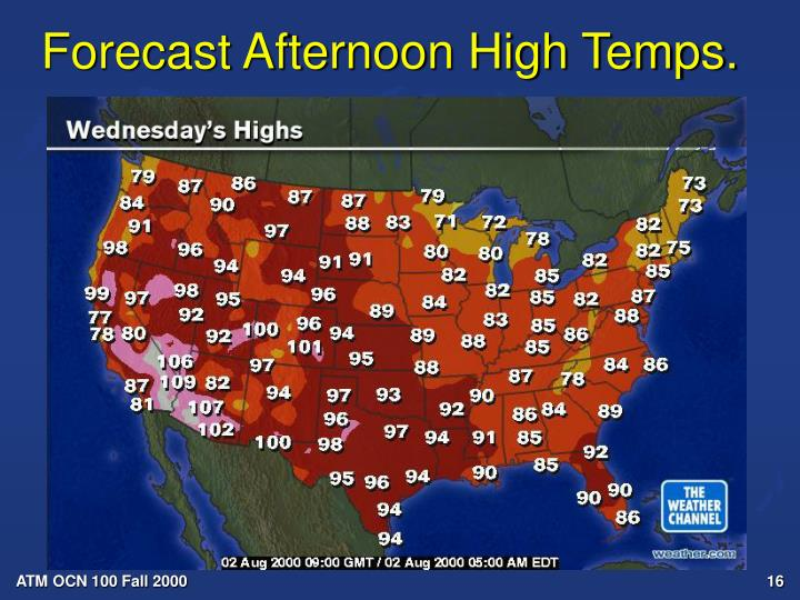 Forecast Afternoon High Temps.