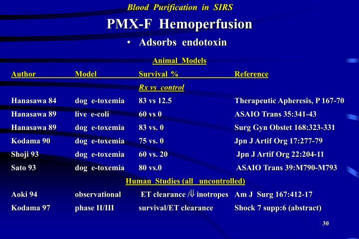 PMX-F  Hemoperfusion
