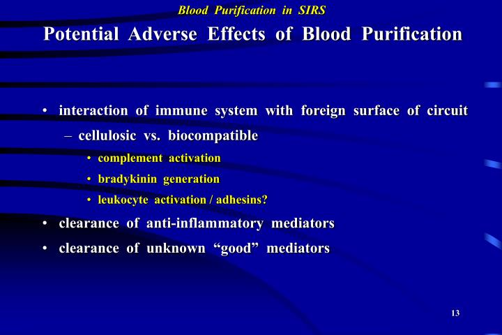Potential  Adverse  Effects  of  Blood  Purification