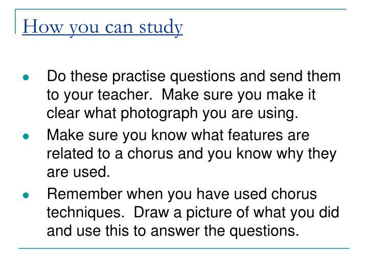 How you can study