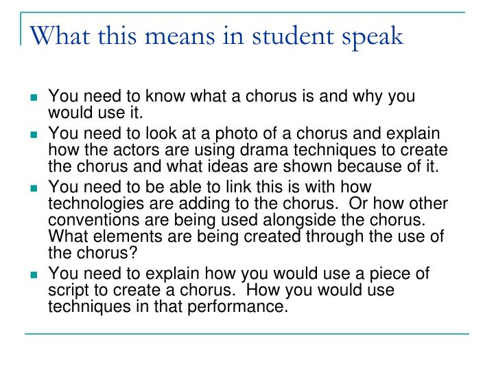 What this means in student speak